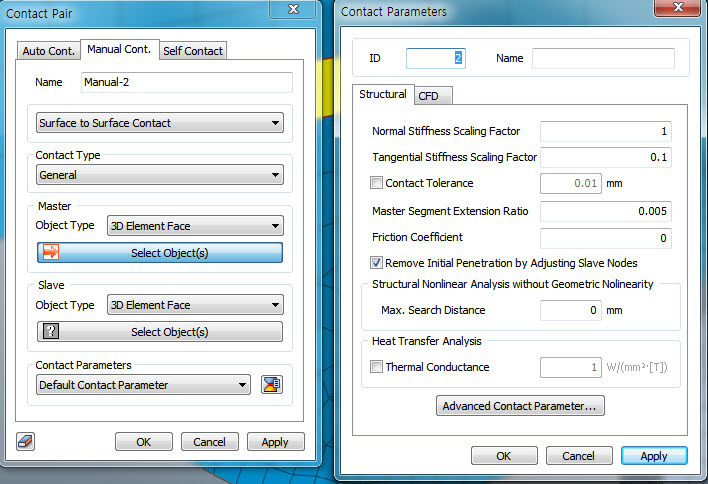 contact parameters