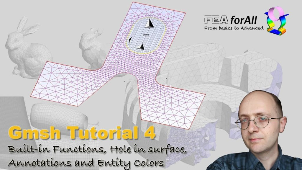 [GMSH tutorial 4] Built in functions, Hole in surface, Annotations and  Entity colors