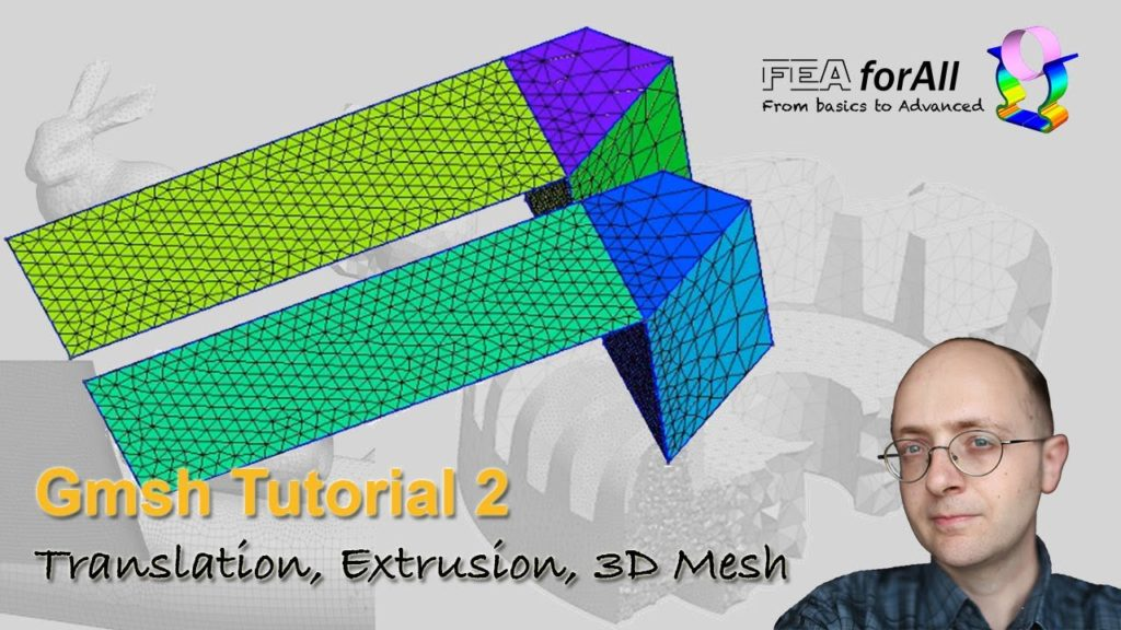[GMSH tutorial 2] Model Translation Rotation Extrusion and 3D Meshing – t2.geo